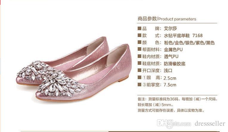 a tutto tondo Stock 2016 scarpe da sposa champagne rosa argento perle a punta cristalli perline scarpe da sposa scarpe speciali scarpe da ballo ragazze STIVALI