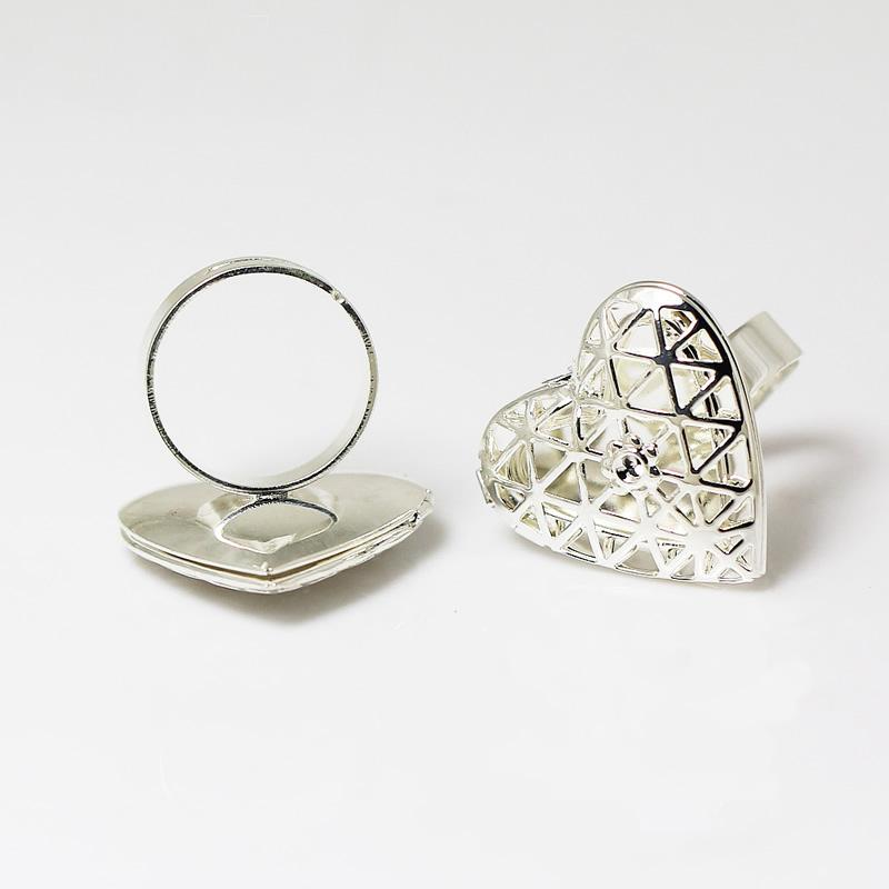 Anéis de medalhão de foto Beadsnice na cor prata banhado cabe fotos de forma de coração 19x14mm ou imagens como presentes de aniversário ou presentes de mães ID 13911