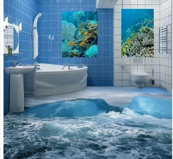 Custom Photo Floor Wallpaper 3D Stereoscopic 3D Sea Ice Floor 3d