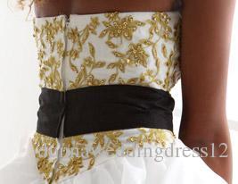 2016 New Hot Fashion Elegant Ball Gown Ivory Sweep/Brush Train Strapless Godl Appliques Sash Satin/Organza Wedding Dresses 222