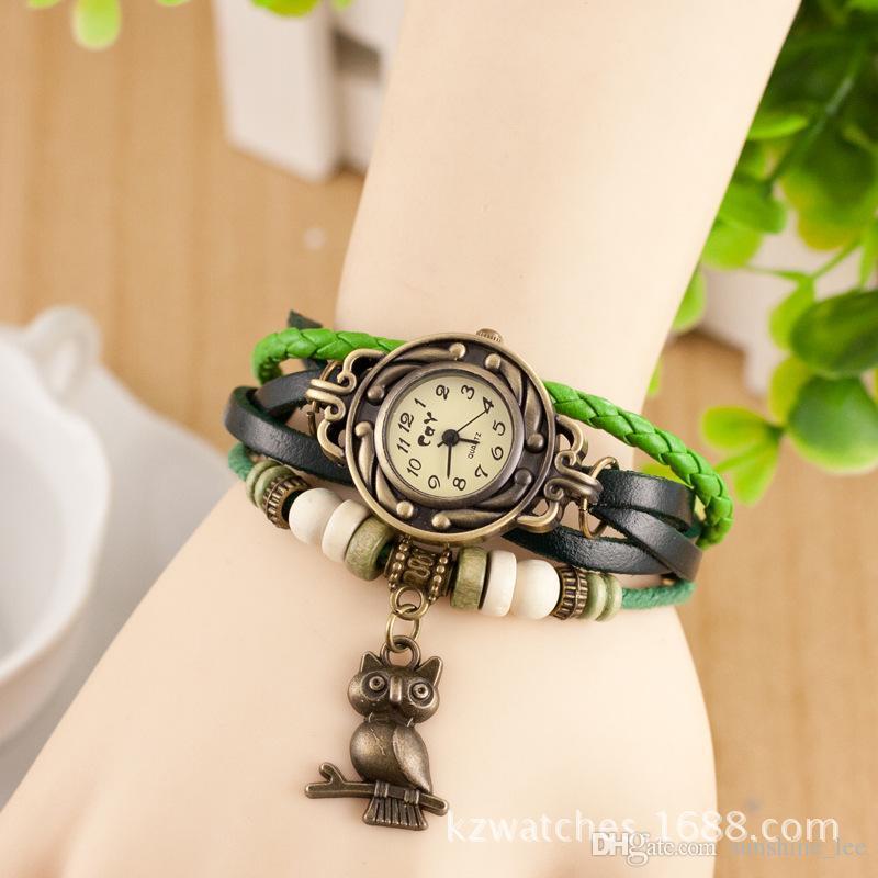 Nouveau bracelet en cuir populaire hibou décoration mouvement dames bracelet de montre-bracelet bracelet