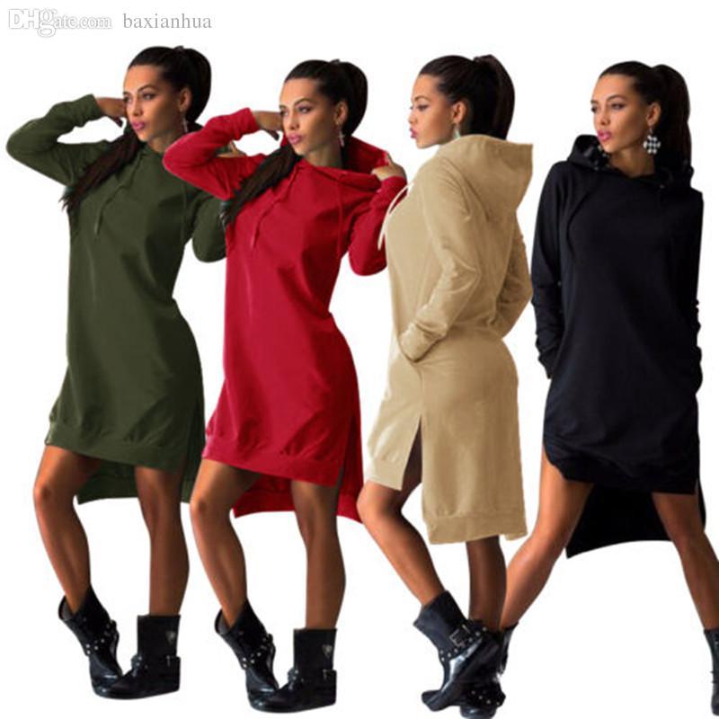 4e2d626487c Spring Autumn Women Short Dress Vintage Casual Sport Dress Long Sleeve  Pockets Sexy Split Hem Hoodie Sweatshirts Tops Yellow Maxi Dress With  Sleeves White ...