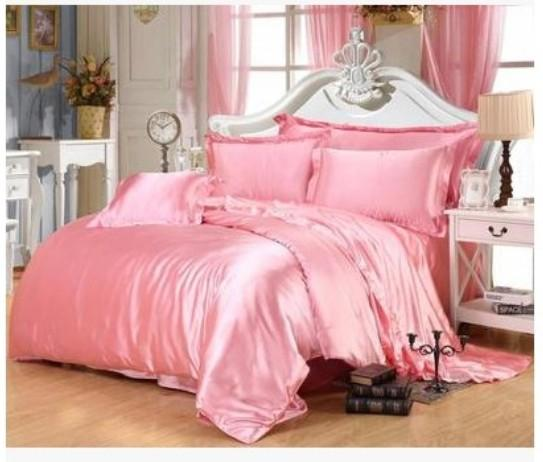 Pink Gold Silk Bedding Set California King Size Queen Full Twin