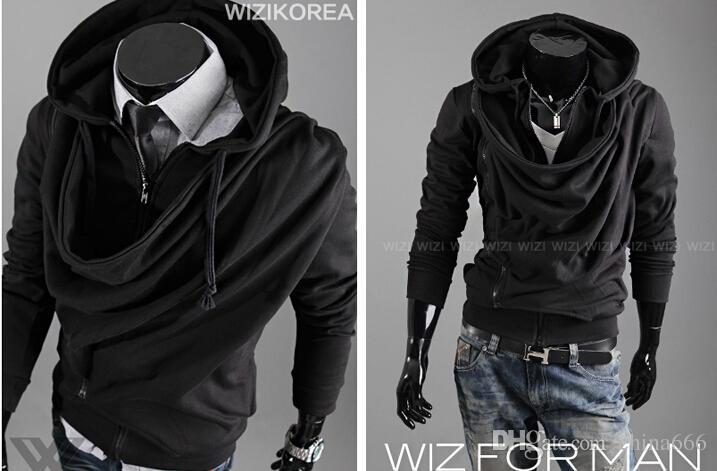 2015 moda yığın yaka tasarım gelgit erkekler rahat kişilik İnce kalın kapüşonlu hırka kazak ceket. @ 897f