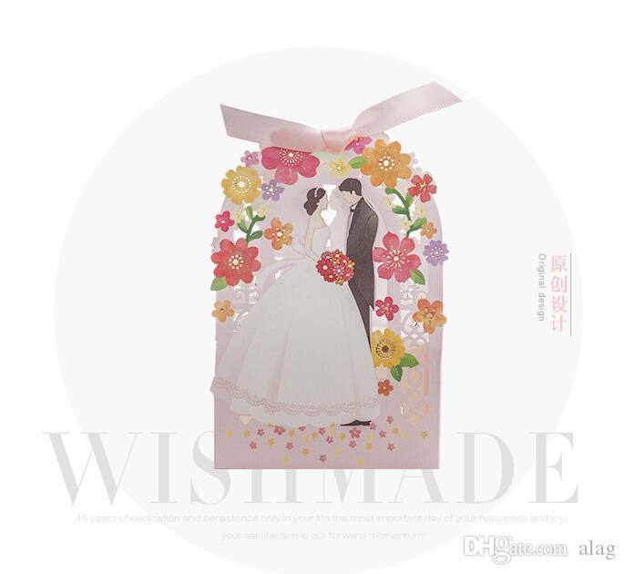 Romantique évider fleur boîte de cadeau de mariage élégant de luxe décoration découpe au laser partie sucré faveurs invité cadeau papier de mariage bonbons boîtes TH176