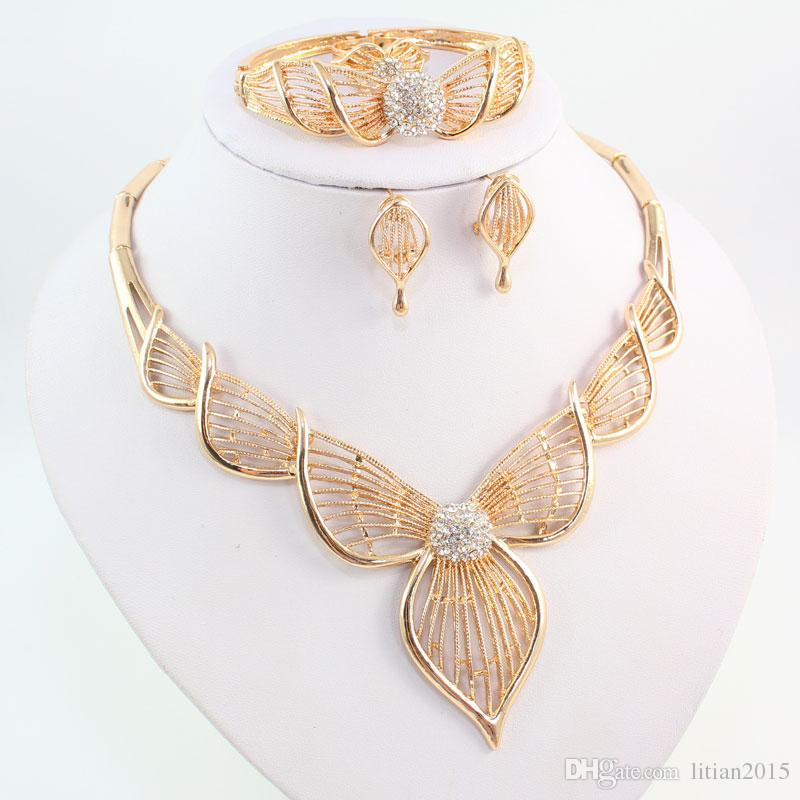 Vintage Luxury Women Choker Crystal Necklace set 18K Gold Plated Wedding Bridal African Fashion Jewelry Sets