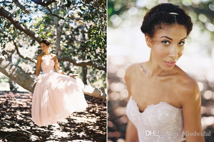 Romantic Garden Tulle Chiffon Blush Wedding Dresses Bridal Gowns Sweetheart Lace Appliques Bodice Low Back Sexy Wedding Gowns A Line