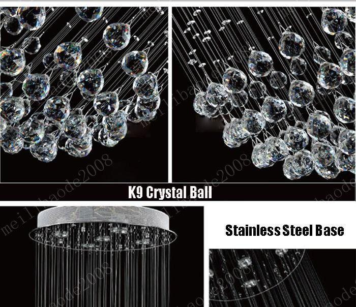 D50cm * H130cm Luxus Kronleuchter K9 Kristallkugel Spirale Kunst Leuchte Dekoration Regen Tropfen Glanz Pendelleuchte Deckenleuchter MYY10546A