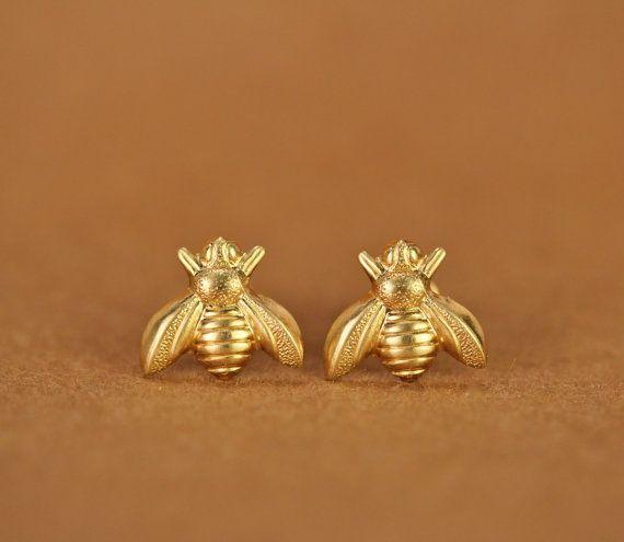 Gold Silver Honey Bee Earrings Tiny Honeybee Stud Earrings Woodland Insect fly bird honey Bumble Bee Stud Earrings