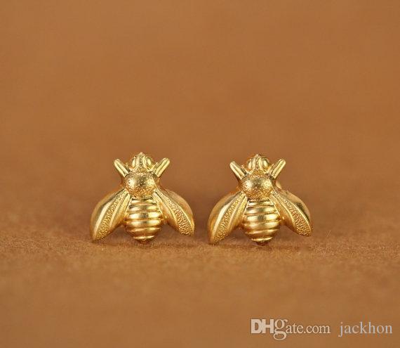 S021 Gold Silver Honey Bee Earrings Tiny Honeybee Stud Earrings Woodland Insect fly bird honey Bumble Bee Stud Earrings