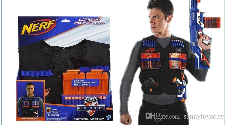 Free shipping Nerf TACTICAL Vest KIT with 12 Elite darts and 2 clips N-Strike Toy Guns
