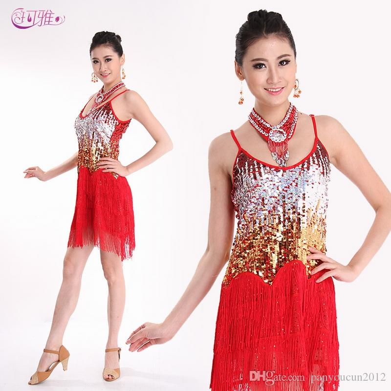 07e4b4bc74f2 Fashion Adult Latin Dance Dress Fringed Jazz Dance Costumes with ...
