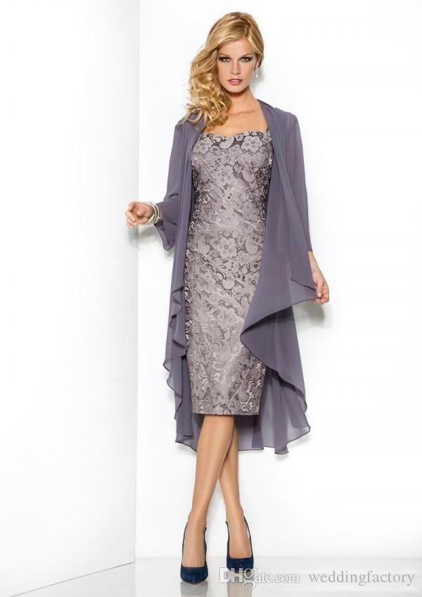 Short Elegant Evening Dresses Lace Mother of the Bride Groom Dress Wedding Party Gowns Long Sleeves Chiffon Jacket