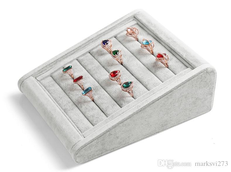 High-end grigio legno orecchini anello di velluto prigionieri mobili tappi antipolvere gioielli display stand di stoccaggio vassoio titolare treppiede design