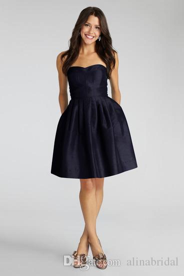 Darmowa Wysyłka Tafta Navy Blue Druhna Sukienki Tanie 2015 Nowy A-Line Sweetheart Długość kolana Krótka impreza Prom Dress Maid of Honor Suknie