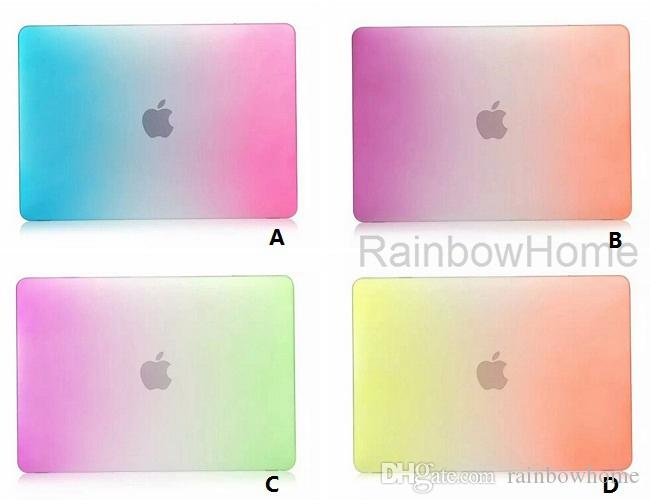 Regenbogen Farbverlauf Matt gummierte Hülle für MacBook Air Pro Retina 11 12 13 15 Zoll Laptop Crystal Kunststoffgehäuse