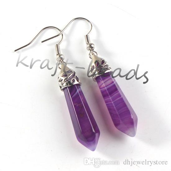 wholesale Silver Plated Natural Stripe Purple Agate Stone Faceted Hexagon Column Dangle Hook Stud Earring Women Charm Jewelry