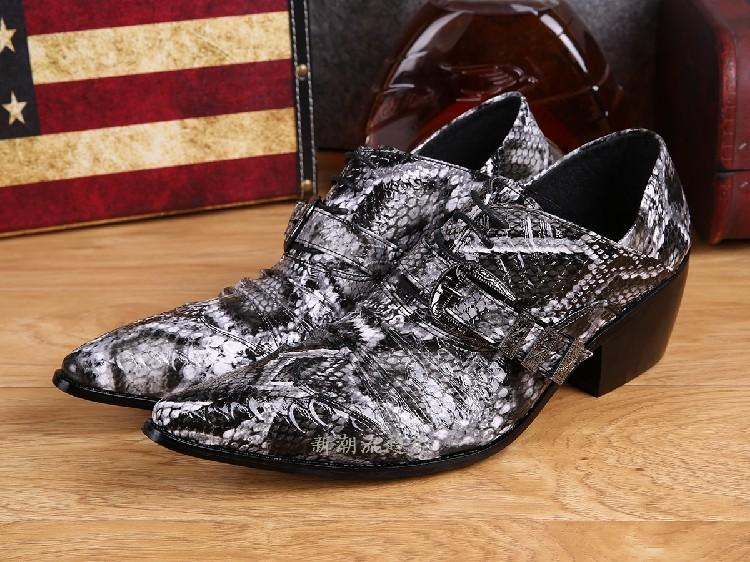 2017 Mens Snake Skin Shoes Italian Men High Quality Leather Men Business Shoes Oxfords Platform Sapatos Masculino Wedding Party Shoes