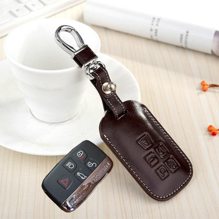 Genuine Leather Cowhide Key Holder Case Shell For Jaguar Xf Xj Xk Remote  Key Fob Cover Bag Wallet Keychain Ring High Quality Accessories Replacement  Keys ...