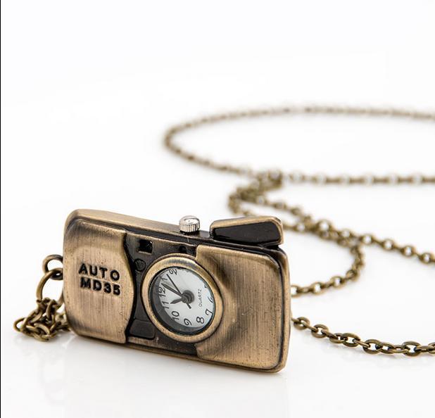 Hot sales Fashion quartz design cute cartoon bronze camera children students pendant Necklace chain pocket watch