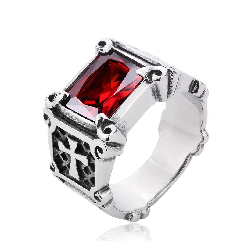 Ruby Male Titanium Antique Silver Male Cross Ring Finger Red Stone ...