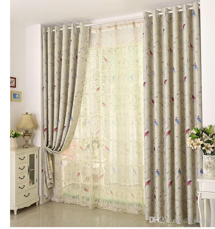 New Arrival Room Darkening Printing Flower And Bird Curtain/tulle Curtains for living room