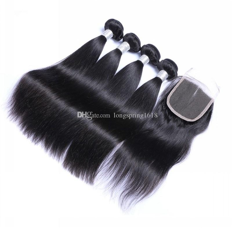 Brazilian Straight Human Hair Extension 3 Bundles with Lace Closure 4x4 Unprocessed Peruvian Indian Malaysian Cambodian Virgin Human Hair