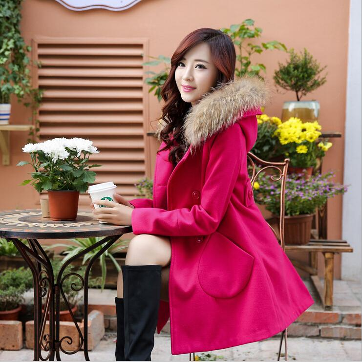 16b5c2a63463b 2019 Korean Fashion New Winter Coats For Women 2015 Hooded Fur Neck Loose  Solid Wool   Blends Womens Coat Long Double Breasted Woman Outerwear From  Cnaonist ...
