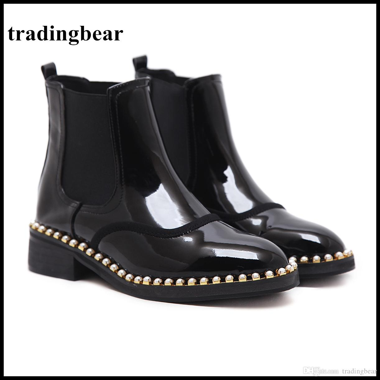 Women's Genuine Leather Black Snow Boots Platform Pearl Winter Ankle Boots