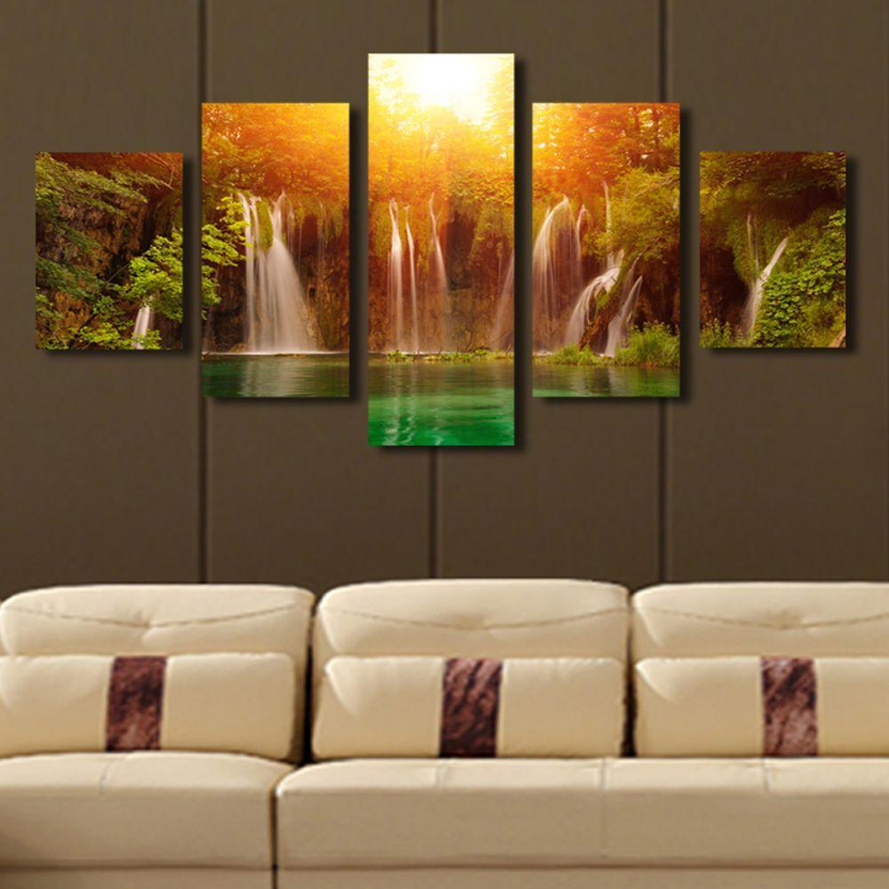Waterfall Wall Art online cheap 5 panel canvas art waterfall sunrise landscape canvas