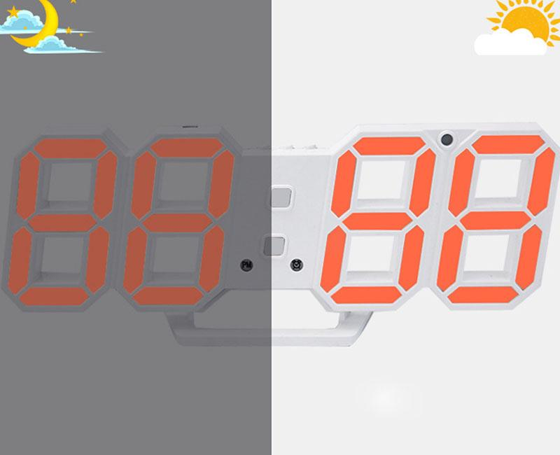 Creative Large LED Digital Wall Clock Modern Design Home Decor 3d Decoration Big Decorative Watch White / orange/pink