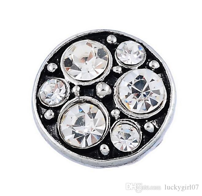Snap Jewelry silvertone pink crystal floral button interchangeable 18mm NIP