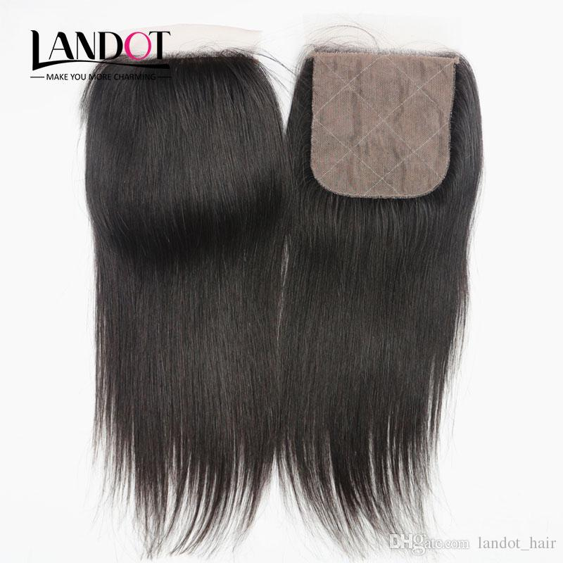 Indian Straight Silk Base Closure Unprocessed Indian Virgin Human Hair Lace Closures Free/Middle/3 Way Part Natural Color Hidden Knots 4x4