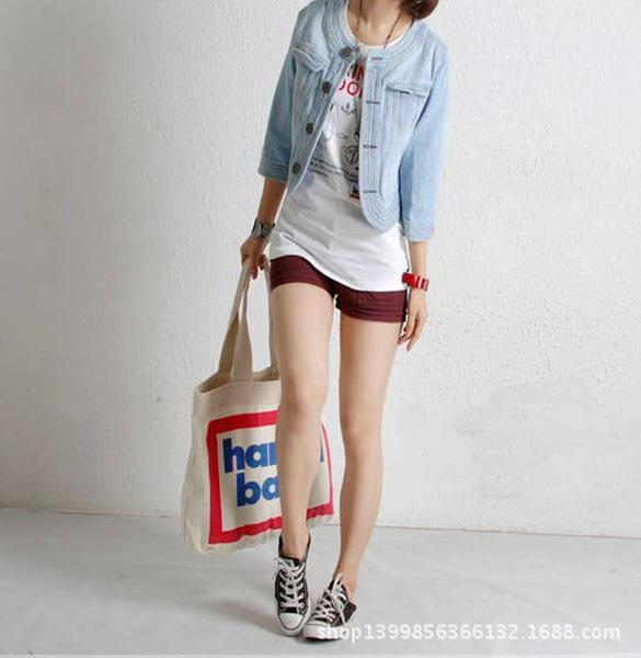 Korean Street Style Light Blue Denim Jacket Short Paragraph Small