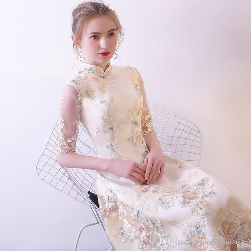 Elegant High Neck Transparent Half Sleeves Tulle With Flowers Embroidery Tea Length Zipper Onepiece Plus Size Mother Of Bride Dresses