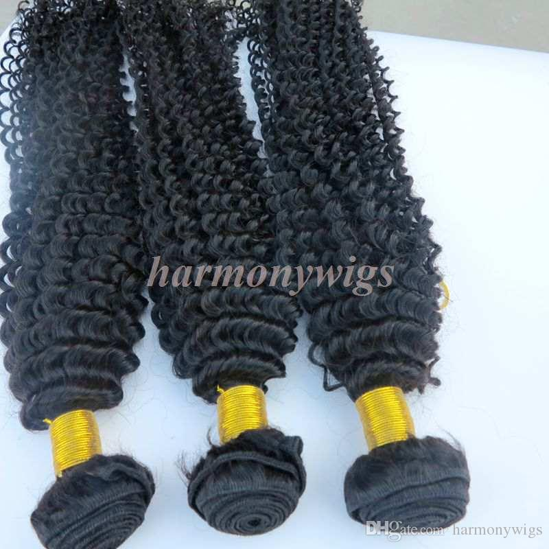 Virgin Brazilian hair weaves Human hair bundles Kinky Curly wefts 8~34inch Unprocessed Malaysian Indian Dyeable Human hair Extensions