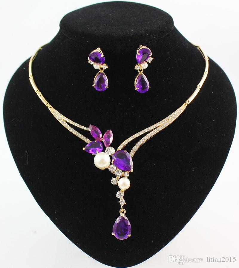 18K Gold Plated Black/Blue/Red/Purple Zircon Beads Crystal Pendants Necklace Earring Sets Fashion Women Party Jewelry Sets