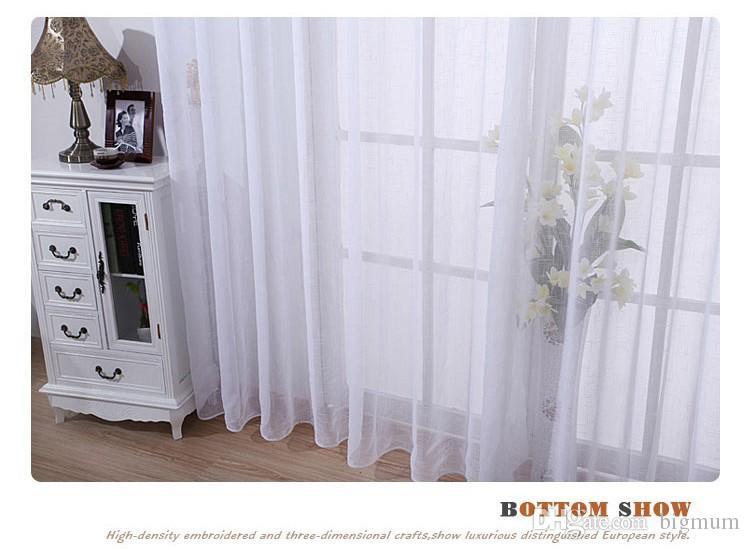 Atacado ! um painel moderno quarto branco sólido de linho puro / tule / voile cortinas máscaras para sala de estar
