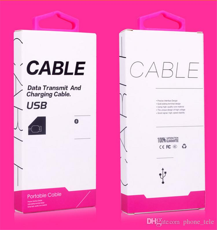 Universal USB Cable Retail Package Boxes 1M 1.5M USB Data Line Charger Adapter PVC Packing Box Packages for Iphone Samsung 1M 1.5M Cable