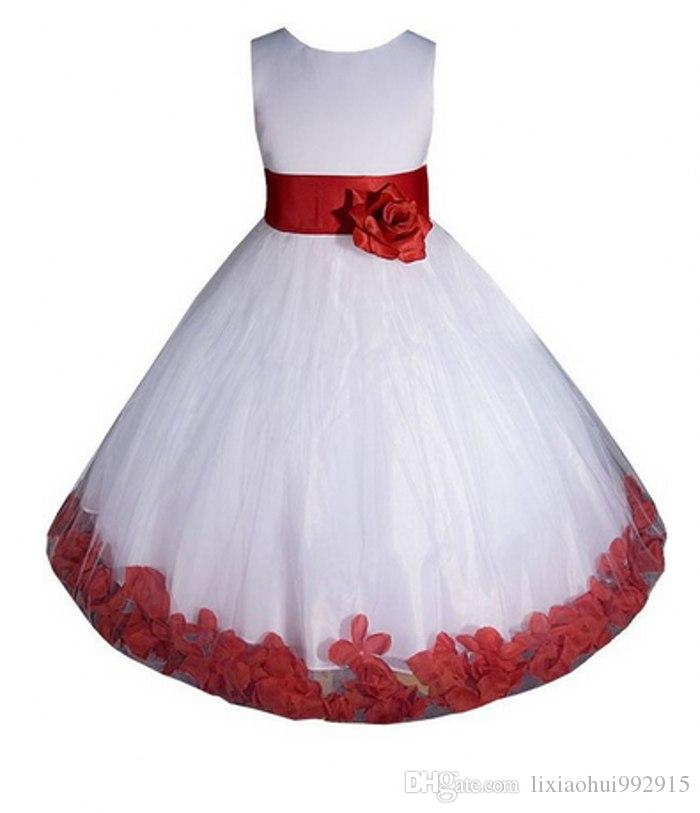 2020 chão tulle concurso vintage branco princesa vermelho flor meninas vestidos bola sagrada primeiros vestidos de comunhão para casamentos crianças vestidos de festa