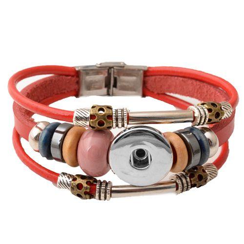 Heißer großhandel neueste design ingwer snap armband druckknöpfe noosa chunks lederarmbänder für frauen passen 18mm rivca snap schmuck p00449