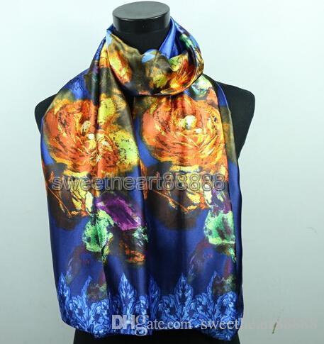 Gold Flower Royal Blue Purple Women's Fashion Satin Oil Painting Long Wrap Shawl Beach Silk Scarf 160X50cm
