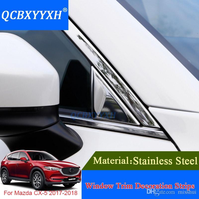 Mazda CX-5 2017-2018를위한 QCBXYYXH 창 손질 장식 지구 외부 장식 스팽글 부속품 스테인리스 차 유행에 따라 디자인하기