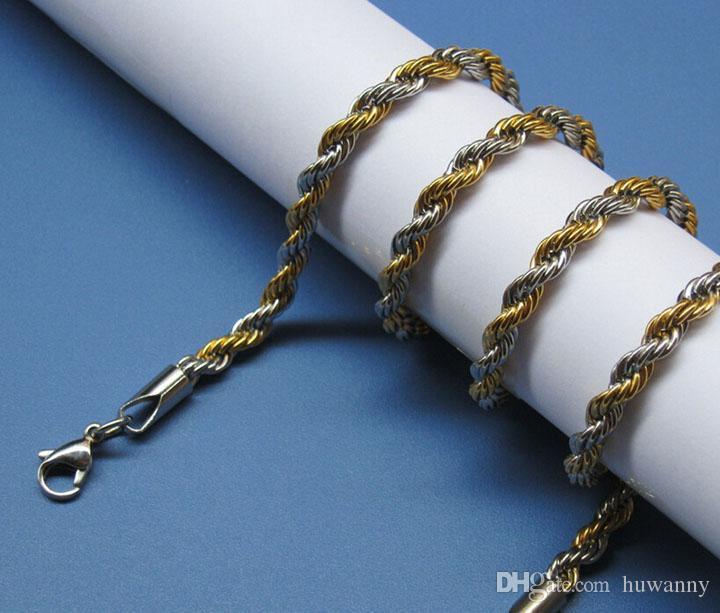 Высший сорт Golden Цепи Ожерелья для мужчин титана стальной трос цепи ожерелья 3мм размер 21 22 24inch ожерелье ювелирные изделия оптом - 0011LDN