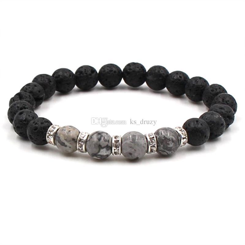 8mm Black Lava Stone Beads Elastic Bracelet Crystal Essential Oil Diffuser Bracelet Tiger's Eye stone Hand Strings Jewelry