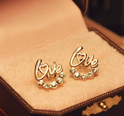Modeschmuck Vintage Damen Ohrstecker Vergoldet LIEBE Herz Kristall Ohrstecker ohrring Frauen Phantasie diamante Ohrringe Ohrringe Freies DHL