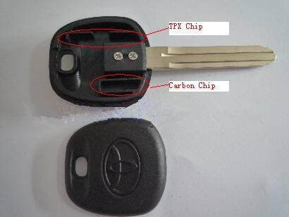 Hottest Toyota Key Blank Transponder Key Shell With Carbon Chip
