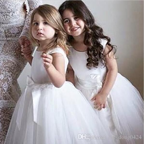 Bonito do bebê decote jóia longa vestidos das meninas de flor de tule com faixa mangas até o chão a linha zipper vestido de festa de aniversário