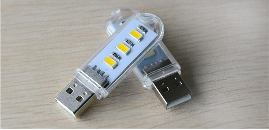 Super bright Mini Computer USB Gadget 3 LEDS 5730LED Lamp USB Light White / Warm White Light for Notebook Laptop Mobile Power Reading Book