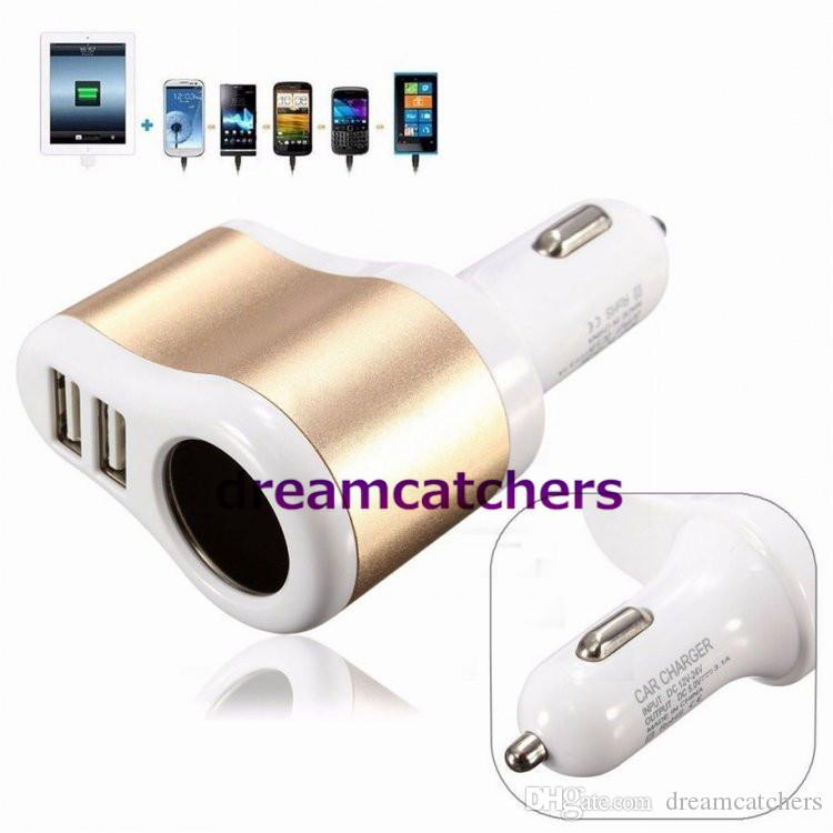 Aluminium Cigarette Lighter 3.1A Dual USB Ports Car Charger Power Socket Adapter Universal for iphone 7 Samsung S7 HTC Blackberry